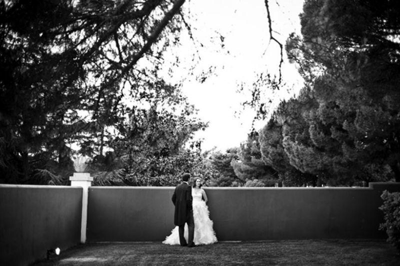 Una pareja de novios en la Quinta de la Muñoza