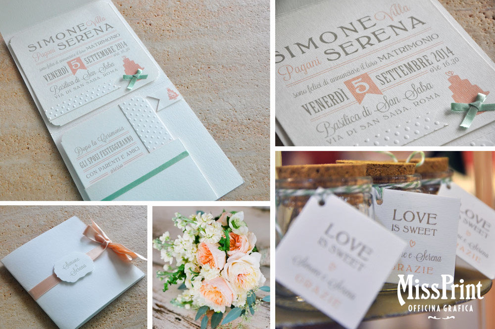 Wedding stationary Sweet Love: partecipazione a folder, libretto messa  e tag per barattolini