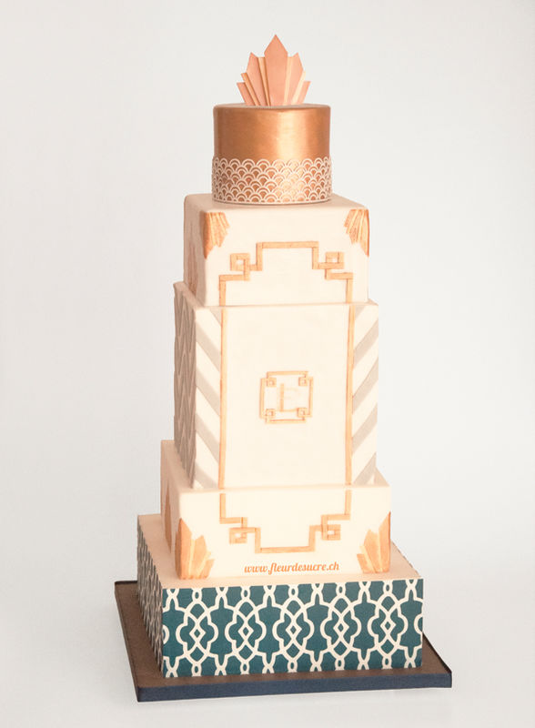 Art Deco inspirierte 6 stöckige Torte