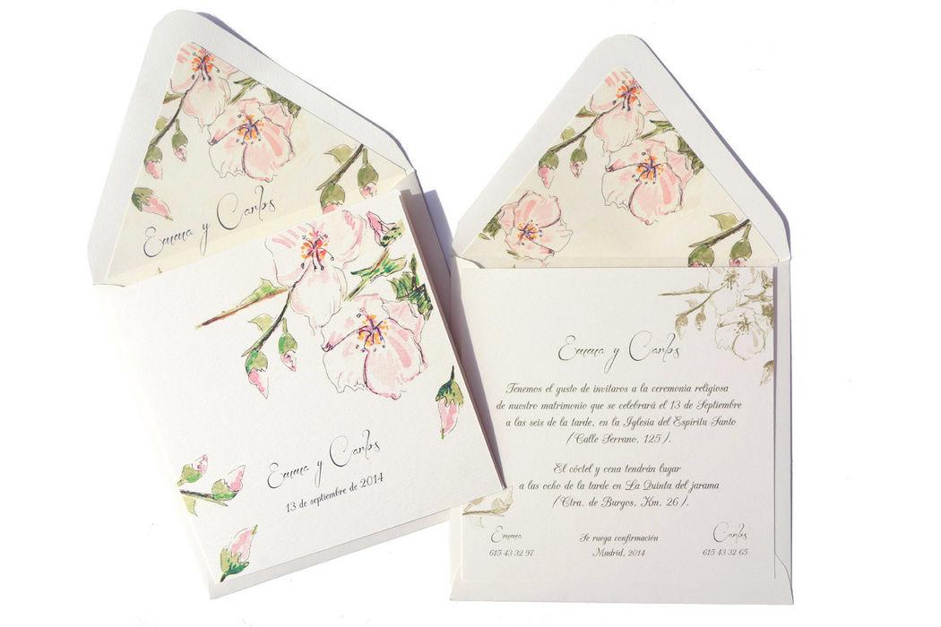 Invitación modelo Spring, delicada y original.