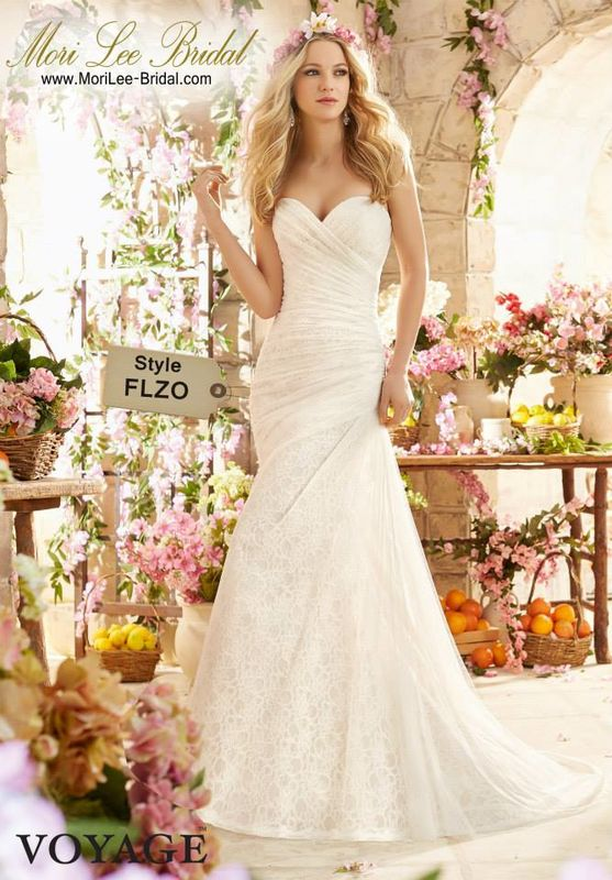 Dress Style FLZO Asymmetrically Draped Soft Net Over Poetic Lace Colors Available: White, Ivory, Ivory/Champagne