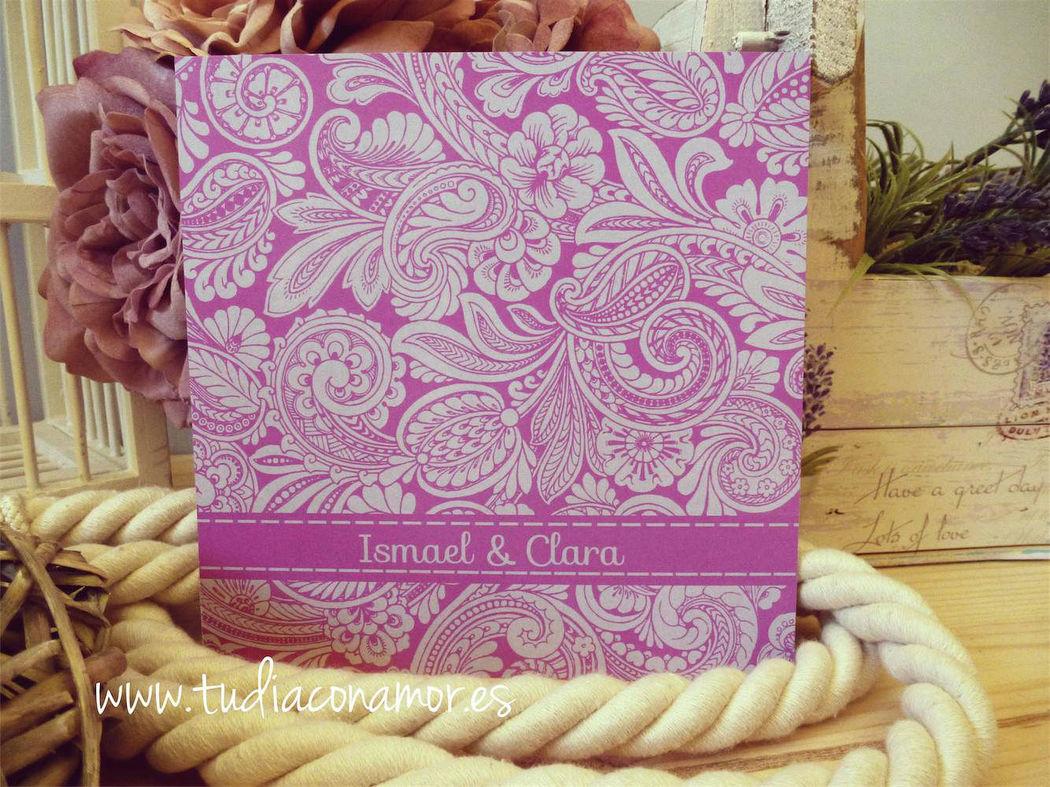 Invitación de boda púrpura