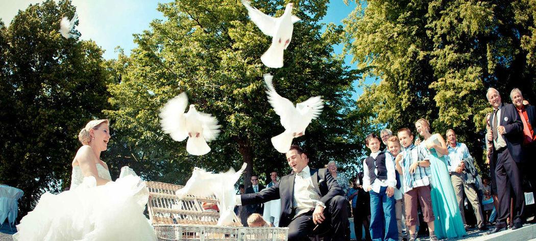 Beispiel: Hochzeitsfeier mit weißen Tauben, Foto: Schloss Lenzburg.