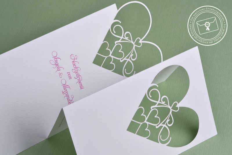 Beispiel: Hochzeitsmenü, Foto: Die exklusiven Einladungskarten.