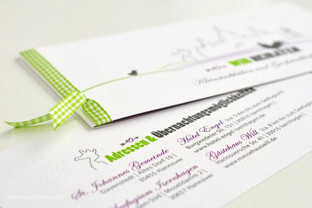 Beispiel: Hochzeitspapeterie, Foto: Annette Bleichert {GrafikNEST}.