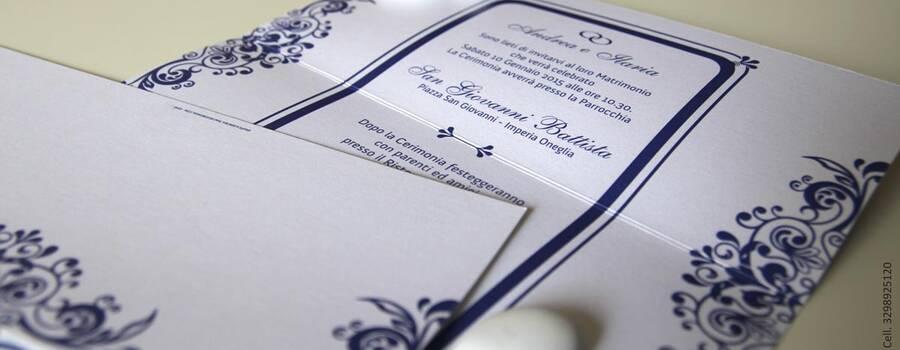 Partecipazioni nozze Blu e pizzo
