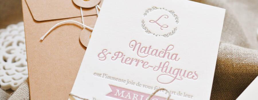 Faire-part Cavaillon imprimé en Letterpress, avec enveloppe kraft à rondelles et étiquette brunch