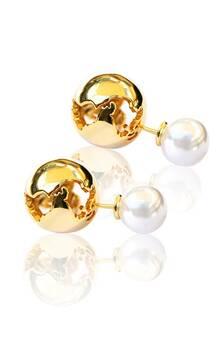 World Globe / Pearl Earrings