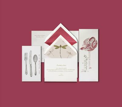 DIMASS Libélulas, flamencos, ...... para una boda muy original.  Combina los meseros con el interior de las invitaciones o elige un diseño personalizado.