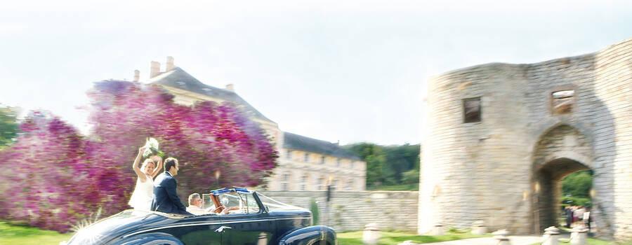 Arrivée des mariés au Château de Vallery
