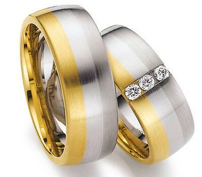 Beispiel: Mehrfarbige Eheringe, Foto: Juwelier Gerner.
