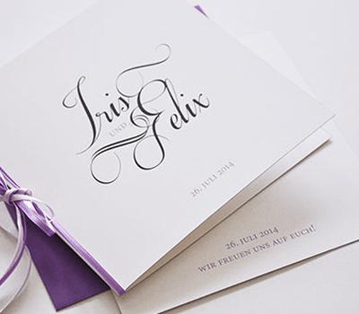 Beispiel: Hochzeitseinladung, Foto: Ephemeres FEINE DRUCKSACHEN.