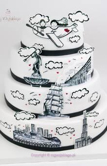 tort weselny malowany