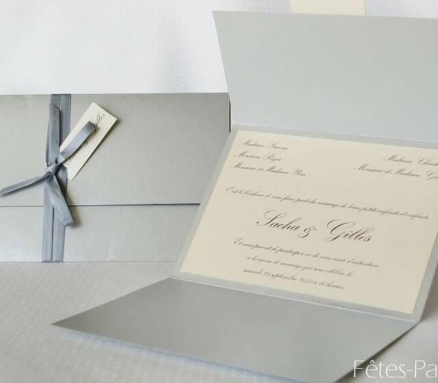 Fêtes-Part - Faire-part de mariage tryptique beige et gris