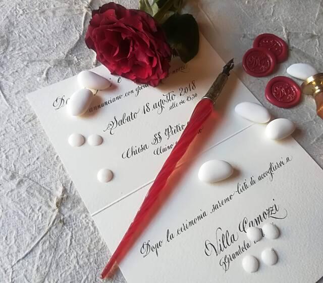 Partecipazione calligrafica e sigillo personalizzato