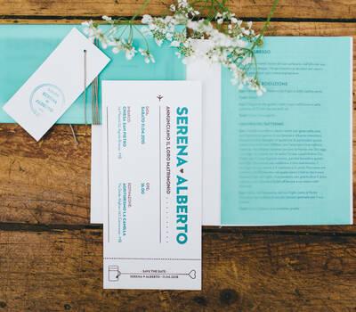 Serena & Alberto | Weddign Stationery Carta 100% cotone Gmund Cotton Linen Cream 600g/m Carta Translucent verde acqua Stampa Letterpress due colori