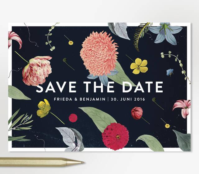 """Studio Ja Ja: Hochzeitspapeterie, Menükarten, Einladungen, Save-the-date Karten: alles vom Feinsten, im Bild: Lieblingsdesign """"Bohemian Blue"""" Save-the-Date Karte"""