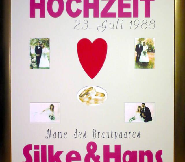Beispiel: Ihr persönliches Hochzeitspassepartout, Foto: Bilderrahmen Lange.