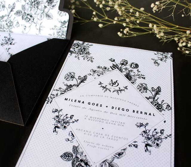 Tarjeta de Matrimonio elegante floral