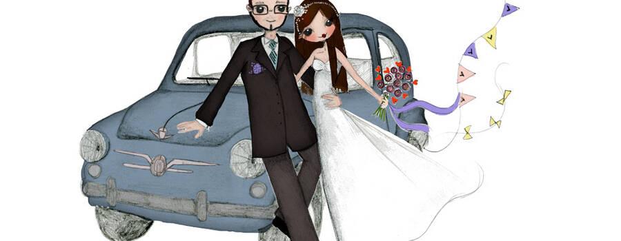 Invitación de boda personalizada por Mónica Custodio