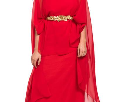 Vestido para madrina con capa de gasa estiloso y juvenil de Dresseos
