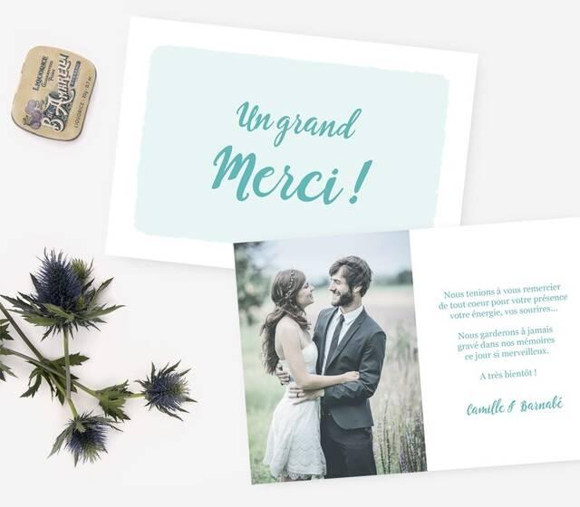 """Event of Paper - Carte de remerciement """"Camille et Barnabé"""""""