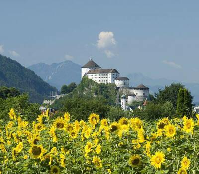Foto: Festung Kufstein mit Sonnenblumen in vordergrund.