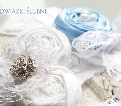 Ręcznie robione podwiązki ślubne. Ślubny Bazaar