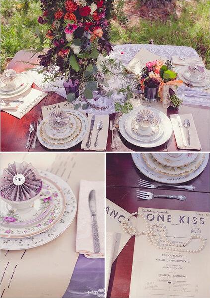 Inspiracje muzyczne na stole ślubnym, Foto: N. Barrett Photography