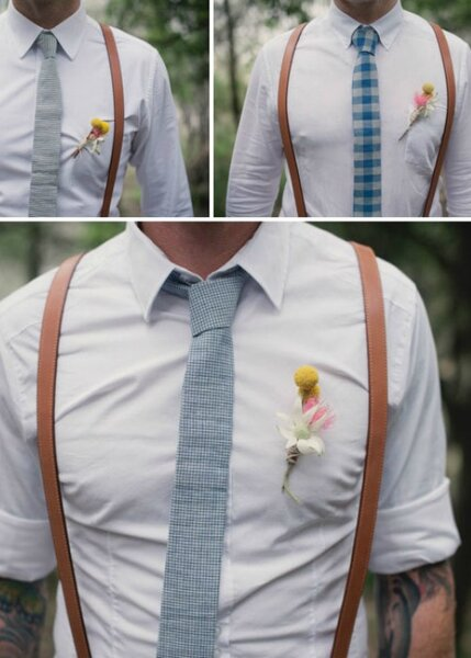 Tirantes y combinación de colores, el mejor complemento para tu novio - Foto: Christine Pobke