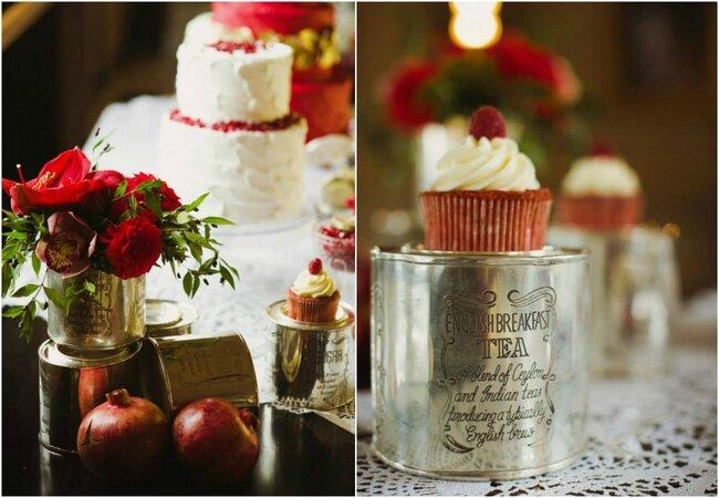 Используйте железные коробочки для украшения сладкого свадебного стола