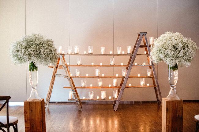 Decoración de boda con velas 2017.