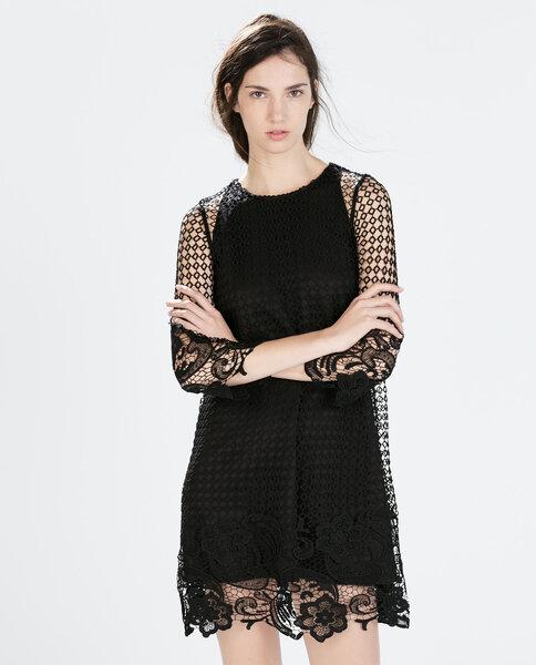 Seksowna czarna sukienka z elementami koronki, Foto: Zara 2015