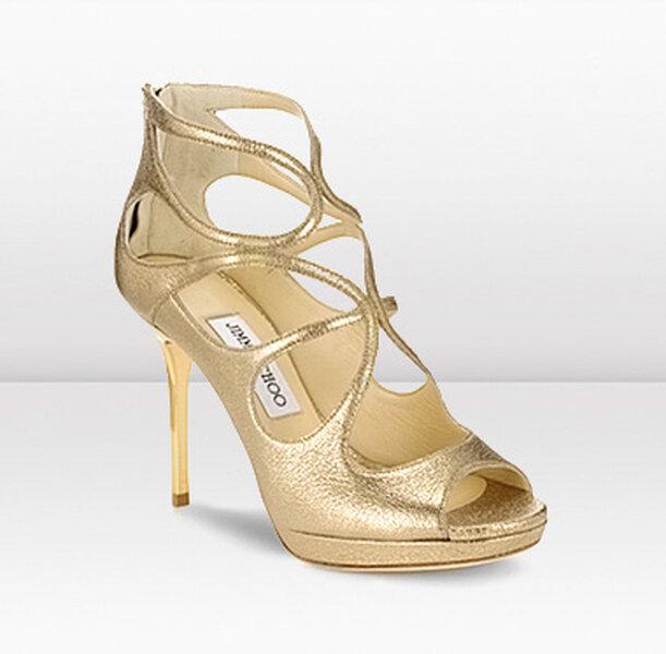 Złote buty ślubne z kolekcji Jimmy Choo
