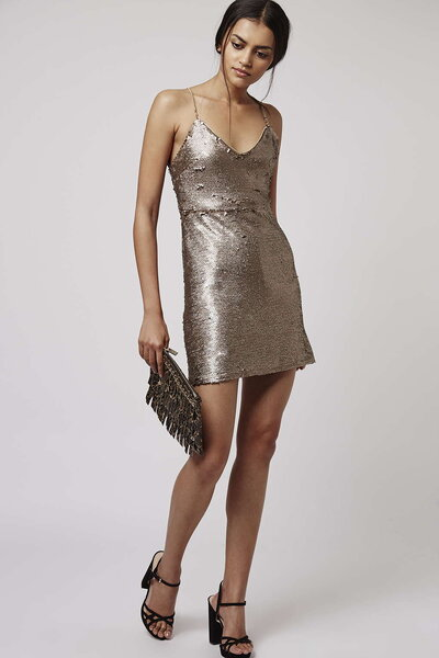 PETITE Brushed Sequin Dress, Topshop.
