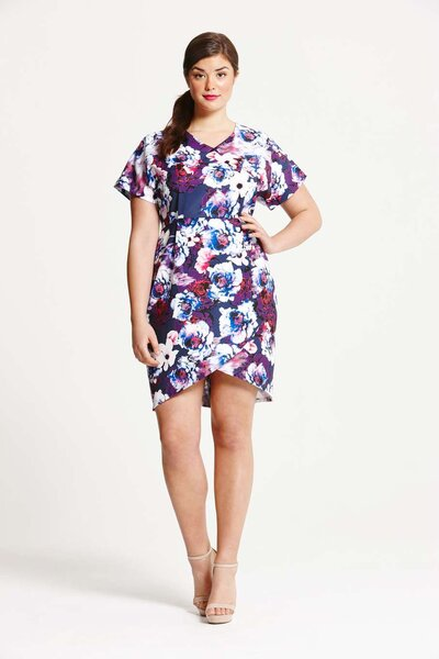 Little Mistress Curve Navy Printed Dress, Dorothy Perkins.