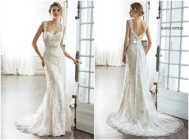 Complete With Dramatic V Back Beautifully Detailed Illusion Lace Sweetheart Neckline And Delicate Cap Sleeves