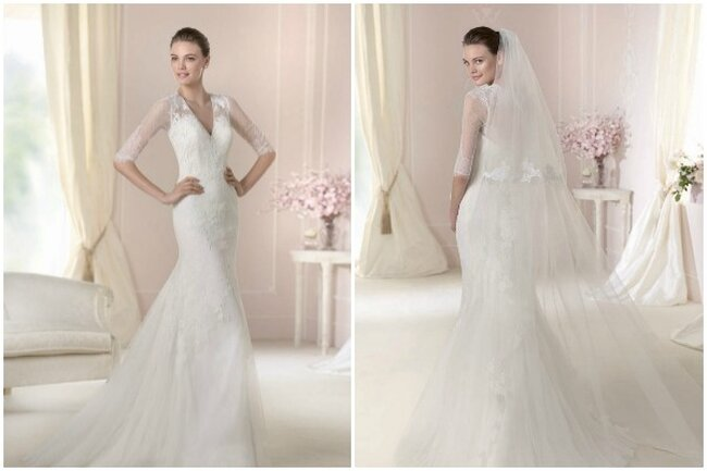 Vestido de novia con encajes y escote en V