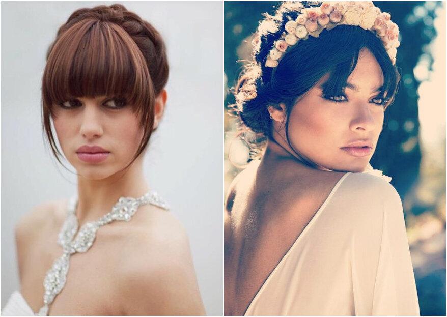 La frangia è tornata di moda: scegli un'acconciatura da sposa di tendenza