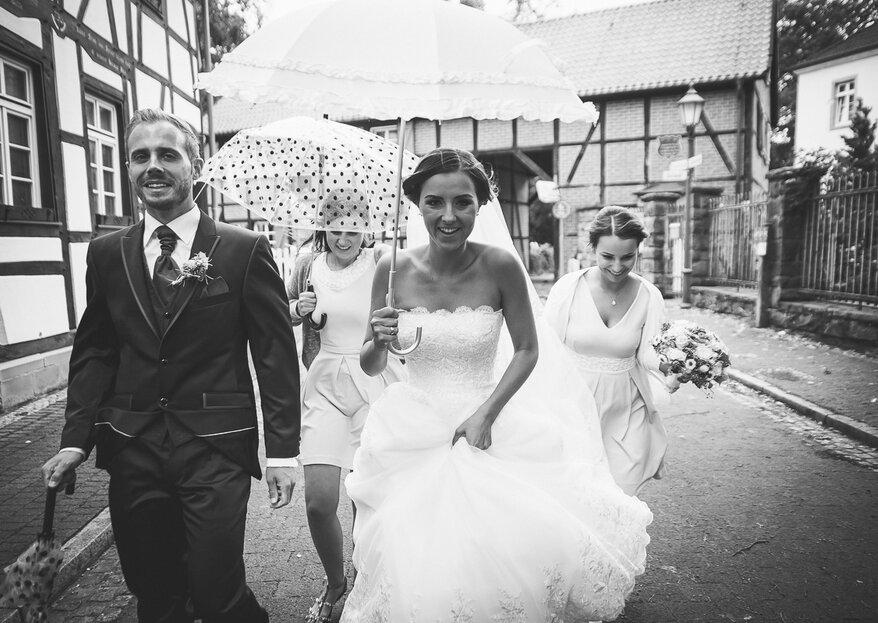 Regen am Hochzeitstag: Beachten Sie diese 5 Tipps!