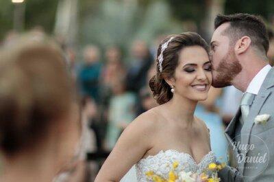 Casamento na fazenda de Gabriela & Fred: cerimônia ao pôr do sol e festa com os noivos mais animados