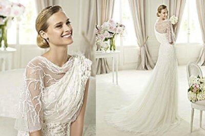 Vestido de noiva assimétrico e texturado by Pronovias 2013