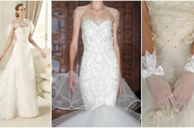 Robes de mariée avec manches façon voile et gants de mariée transparents : au top en  2013