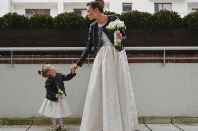 Panna Młoda i jej siostrzenica miały podobne suknie ze skórzaną ramoneską. Niezwyły ślub i wesele Darii i  Jacka!