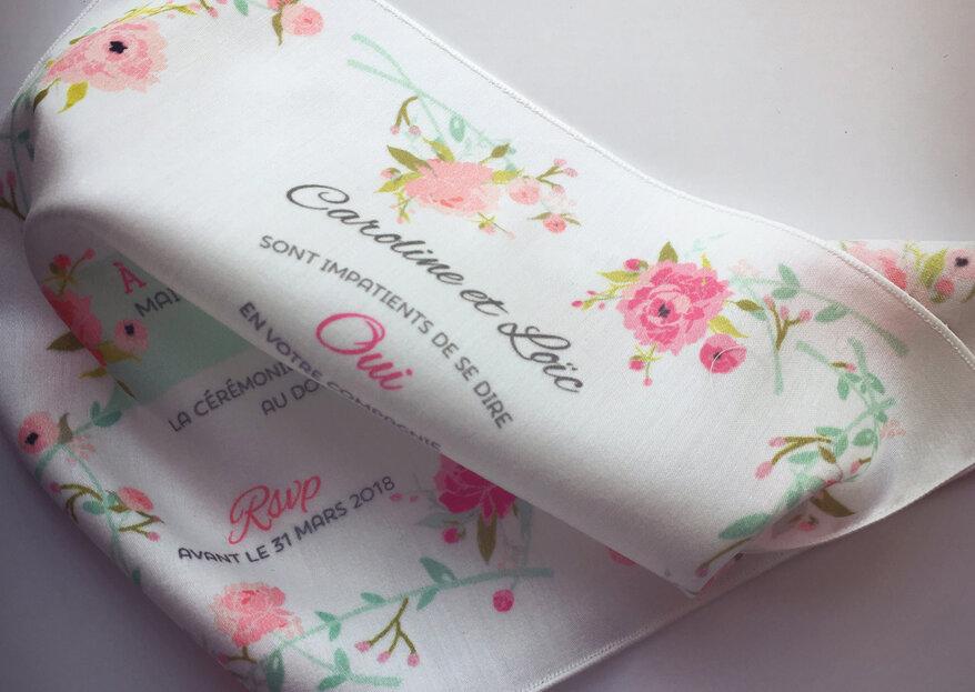 Bluffez vos amis avec un faire-part de mariage imprimé sur du tissu : Instants Tissés