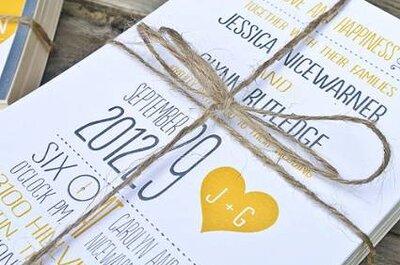 Lindos convites de casamento amarelos