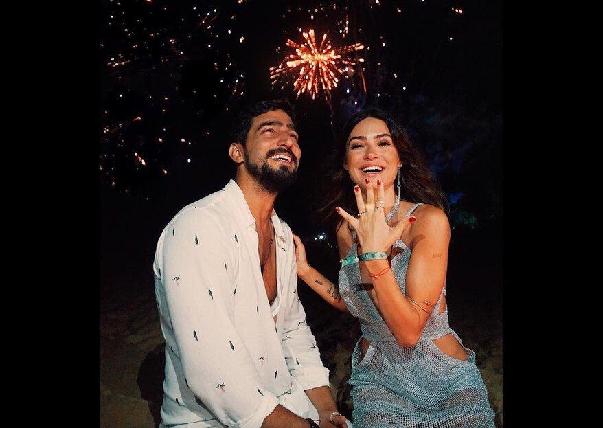 Thaila Ayala e Renato Góes ficam noivos na passagem de ano