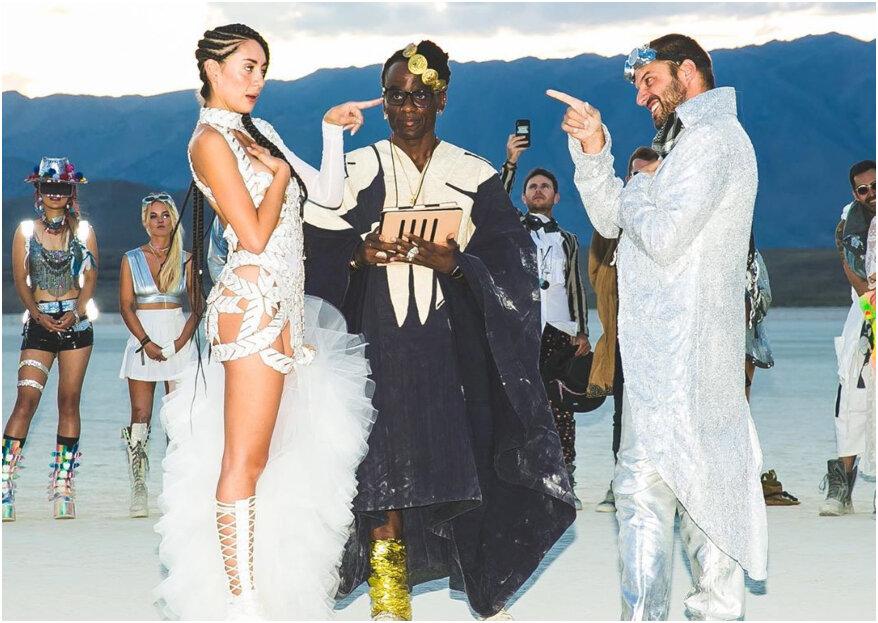 ¡Galáctica y futurista! Así fue la boda y el vestido de la actriz Carolina Guerra en el festival Burning Man