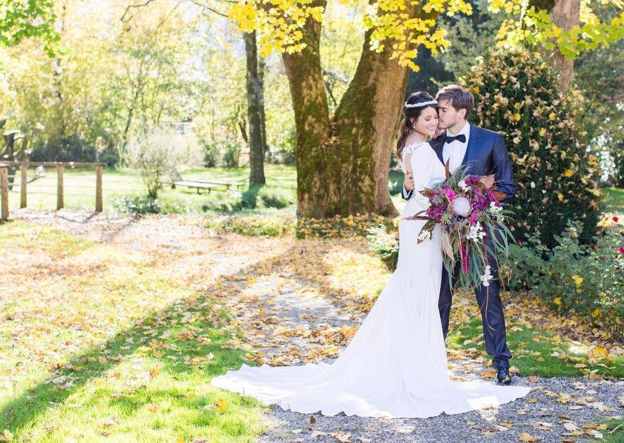 Wunderschöne herbstliche Hochzeitsinspirationen aus dem Schloss Hünigen