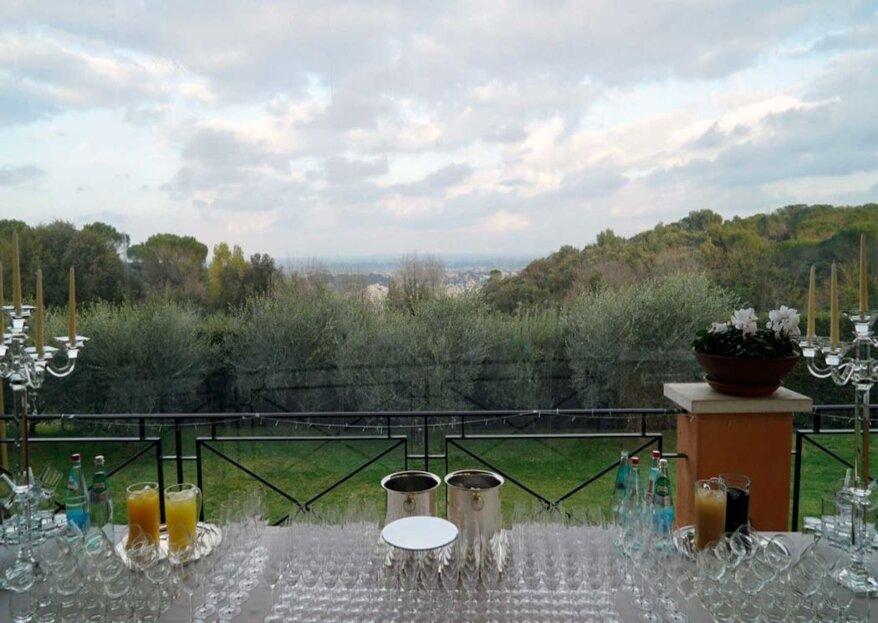 Villa Parco della Vittoria, con la sua vista panoramica sulla città eterna, è il luogo perfetto per le vostre nozze!